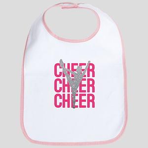 Pink Cheer Glitter Silhouette Bib