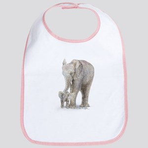 Mother and baby elephant Bib