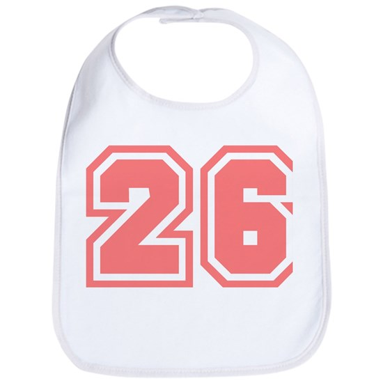 26 Cotton Baby Bib Varsity Uniform Number 26 (Pink) Bib by ...