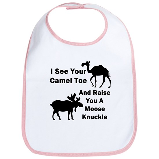 35e7bbba98765 Moose Knuckle On White Cotton Baby Bib Camel Toe Vs. Moose Knuckle ...