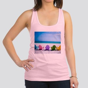 Lounge Chairs On Beach Racerback Tank Top