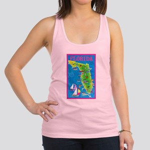 Florida Map Greetings Racerback Tank Top