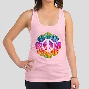Colorful Peace Flower Racerback Tank Top