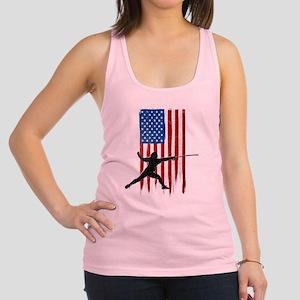 USA Flag Team Fencing Racerback Tank Top