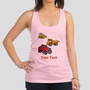 Construction Vehicles and Text. Racerback Tank Top