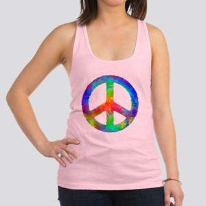 Distressed Rainbow Peace Sign Racerback Tank Top