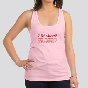 grammar-difference-OPT-RED Racerback Tank Top