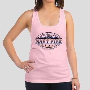 Navy Pier Oval Stylized Skyline design Racerback T