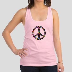Hippie Flowery Peace Sign Racerback Tank Top