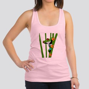 Cute frog on grass Racerback Tank Top