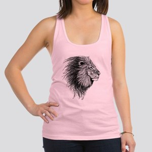 Lion (Black and White) Racerback Tank Top