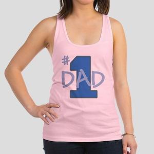 # 1 Dad blue gray Racerback Tank Top