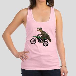 Tyrannosaurus Rex On Motorcycle Racerback Tank Top