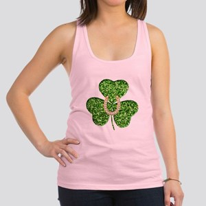 Glitter Shamrock And Horseshoe Racerback Tank Top