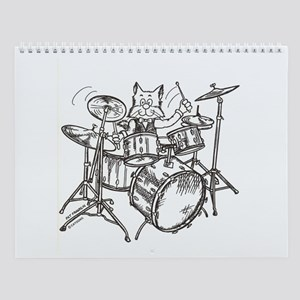 Catoons drums cat Wall Calendar