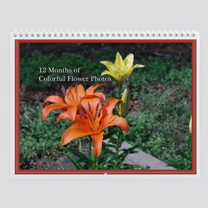 12 Months of Colorful Flowers Wall Calendar