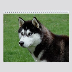 Horizontal Siberian Husky Wall Calendar