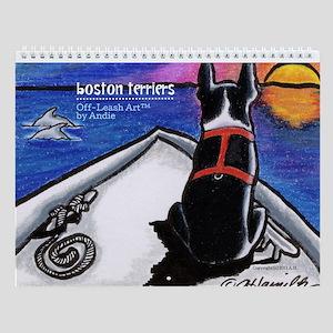 Boston Terriers Off-Leash Art Wall Calendar