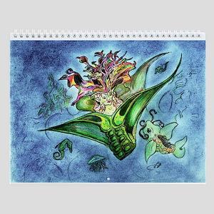 Coral Mermaid Fantasy Art Wall Calendar