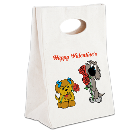Valentines Day Dogs. Canvas Lunch Tote