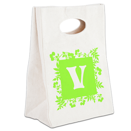 Plants and Letter V. Canvas Lunch Tote
