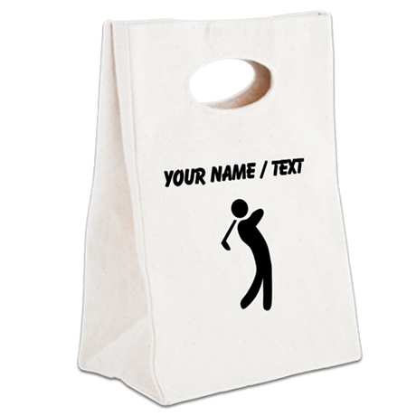 Custom Golfer Silhouette Canvas Lunch Tote