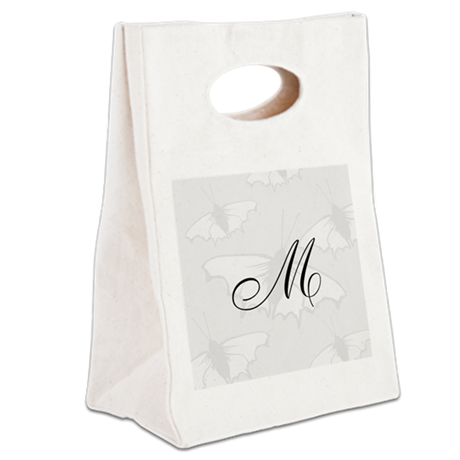 Custom Monogram Gray Butterfly Canvas Lunch Tote