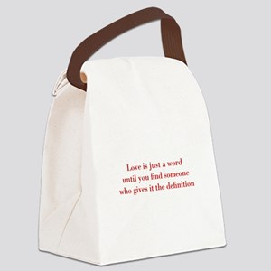 Love-is-just-a-word-BOD-RED Canvas Lunch Bag