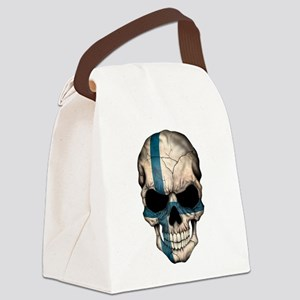 Finnish Flag Skull Canvas Lunch Bag