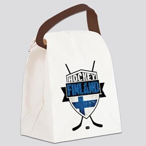 Suomi Finland Hockey Shield Canvas Lunch Bag