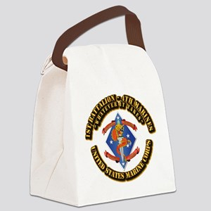 1st Bn - 4th Marines with Text Canvas Lunch Bag