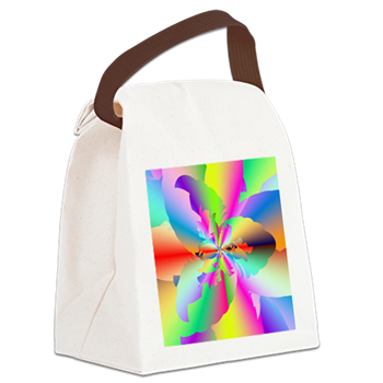 Fractal Fire Flower Canvas Lunch Bag