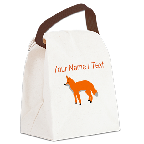 Custom Orange Fox Pup Canvas Lunch Bag