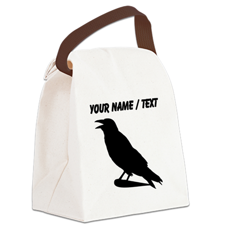 Custom Black Crow Silhouette Canvas Lunch Bag