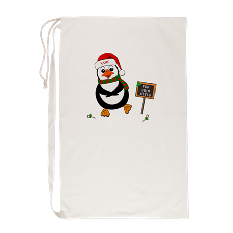Add Name To Dancing Penguin Laundry Bag