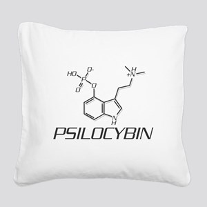 Psilocybin Molecule Square Canvas Pillow