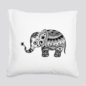 Cute Floral Elephant In Black Square Canvas Pillow