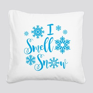I Smell Snow Square Canvas Pillow