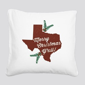 Merry Christmas Y'all! Square Canvas Pillow
