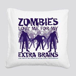 Zombies Love Me Square Canvas Pillow