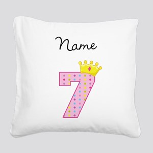 Personalized Princess 7 Square Canvas Pillow
