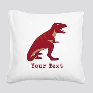 Red T-Rex Dinosaur with Custom text Square Canvas