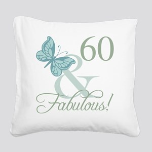 60th Birthday Butterfly Square Canvas Pillow