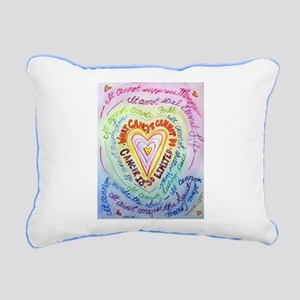 Rainbow Heart Cancer Rectangular Canvas Pillow