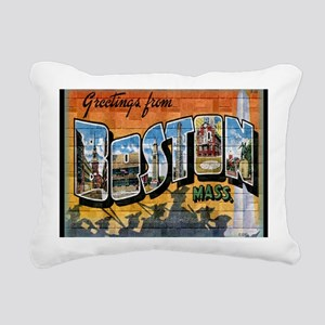 Greetings from Boston Rectangular Canvas Pillow