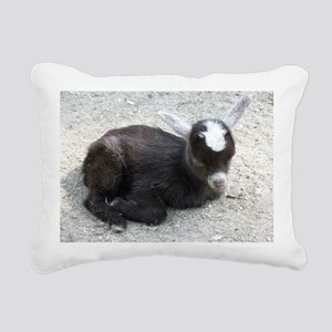 Curled Up Baby Goat Rectangular Canvas Pillow