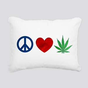 Peace Love Weed Rectangular Canvas Pillow