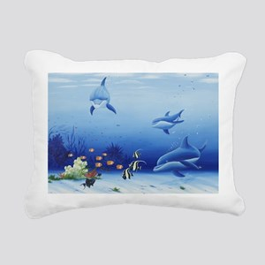 Three Friends Dolphins Rectangular Canvas Pillow