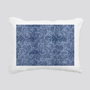 Blue Floral Denim Rectangular Canvas Pillow