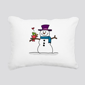 Snowman bird love christ Rectangular Canvas Pillow